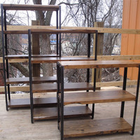 BOOKCASES: Made to Order of Recycled Steel, Bookshelf, Reclaimed Wood and Angle Iron