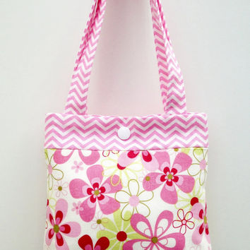 Toddler tote little girl purse floral tote flower tote pink purse little girl birthday gift toddler gift tot tote water resistant lining