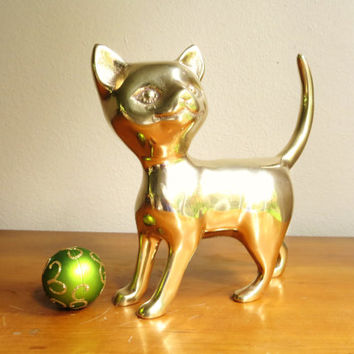 Vintage Brass Cat Figurine, Cat Statue, Brass Animal Collectible, Paperweight, Large