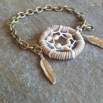 Dream Catcher Bracelet with Feathers in Brown by MidnightsMojo