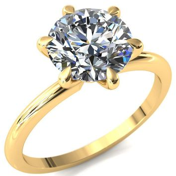 Gracey Round Moissanite 6-Claw Prong Engagement Ring
