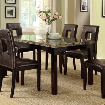 Poundex F2093-1051 7 pc avenue collection espresso finish wood table with faux marble top dining table set