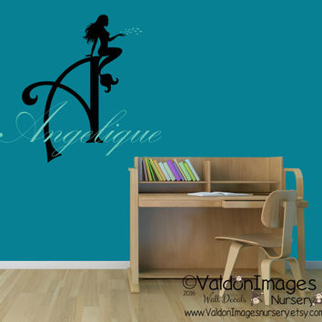 Mermaid wall decal, monogram wall decal, nurser decor, beach decor, nursery wall decal, girls wall decal, kids decor, childrens name decal