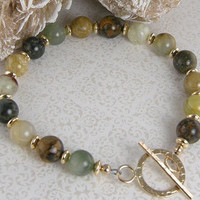 Soochow Jade Bead Bracelet - Earth Tone Jade and 14K Gold Filled Bead Bracelet