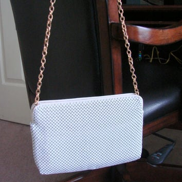 Vintage Whiting & Davis White Mesh Designer Shoulder Handbag or Evening Clutch Purse
