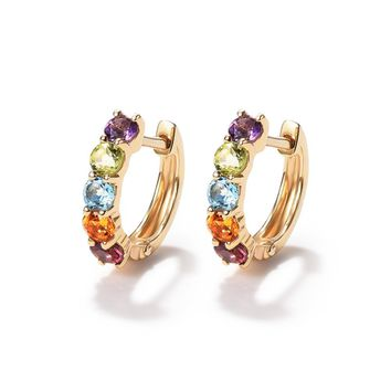 ENZO Real 18K Yellow Gold (AU750) Amethyst Citrine Tourmaline Women Clip Earrings Classic Colorful Gemstone Jewelry