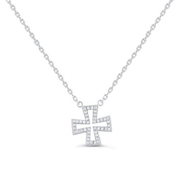 Sterling Silver Cz Iron Cross Necklace 18""