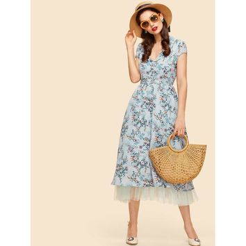 Multicolor Collar Cap Sleeve Fit And Flare Dress