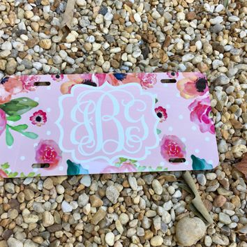 Floral & Polka dots Monogram License Plate or Frame