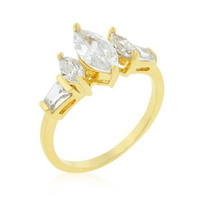 Marquise Triplet Engagement Ring, size : 10
