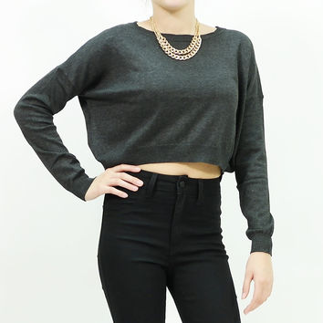 Long sleeve boxy knit crop top sweater Charcoal