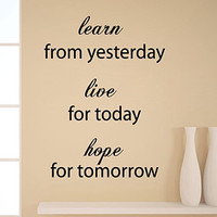 Wall Decals Vinyl Decal Sticker Quote Learn From Yesterday Live For Today Home Interior Design Art Murals Bedroom Living Room Decor KT119 - Edit Listing - Etsy