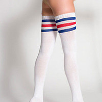 American Apparel Authentic Cotton Solid and 3 Stripe Thigh High Socks RSASKTH-7