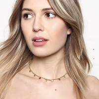 Lucky Coin Beaded Choker Necklace - Gold