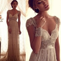 short sleeve long Bohemian style beaded wedding dress * available in all sizes