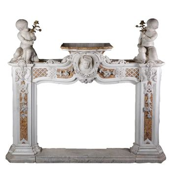 Exceptional Late 18th Century Fireplace Carved in Statuary and Brocatelle Marble