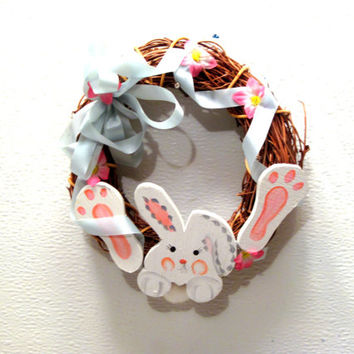 Easter, Holiday, Wood, Bunny, Ribbon, Flower, Small, Wreath, Decor, Door, Wall, Rabbit, Grapevine, Cut Out, Faux, Happy, Spring, Country