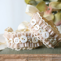 Bridesmaid Bracelet - Vintage Button and Pearl Wedding Jewelry
