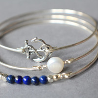 Silver Anchor, Lapis Lazuli, and Freshwater Pear Bracelet Set, Silver Bracelet, Silver Bangle, Bangle Bracelet, Gifts for Her, Stacking