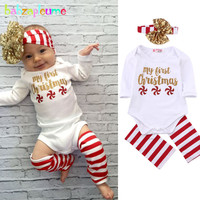 Baby Girls Christmas Clothes Long Sleeve Rompers 3pcs Newborn set Jumpsuit Children Costume Cute Deer Design Kids Clothing A032