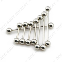 BOG-Industrial Barbells Stainless Steel Straight Barbell Tongue Bars Nipple Rings Body Piercing Barbell Jewelry 50pcs/lot 14g