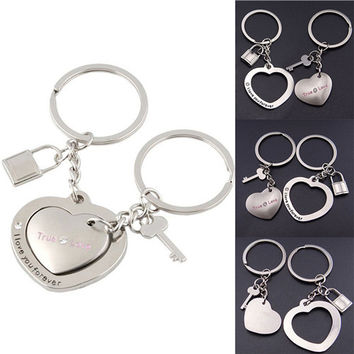 Lovers Heart Lock key chains keyring keyfob Valentine Couple gift purses h bags  SM6