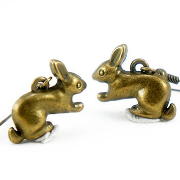 Rabbit Earrings - Antiqued Brass Bunny Dangle Earrings - CP071