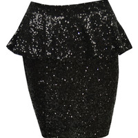Mara Sequinned Peplum Skirt In Black