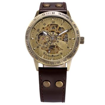Men Bronze Antique Leather Self Widing Wrist Watch Steampunk Skeleton Power Automatic Male Mechanical Watches