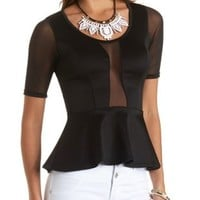 Mesh Paneled Peplum Top by Charlotte Russe