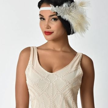 Unique Vintage Ivory Peacock Feather & Silver Sparkle Stretch Headband