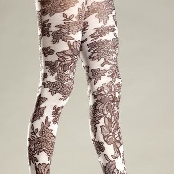 Bewicked Female Opaque Floral Print Tights BW682W