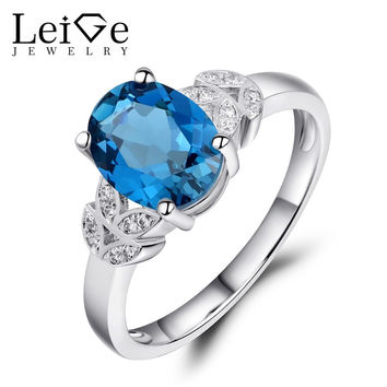 LEIGE JEWELRY FINE JEWELRY LONDON BLUE TOPAZ RING ENGAGEMENT RINGS FOR WOMEN NATURAL GEMSTONE OVAL CUT ANNIVERSARY GIFT