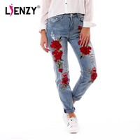 LIENZY Summer Red Rose Embroidered Jeans For Women High Elastic Ripped Jeans Boyfriend Denim Pants XS-3XL