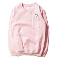 RIPNDIP fashion tide brand plus velvet sweater fall hedging lovers installed spoof pocket small cheap cat Pink