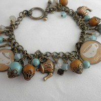 Coffee and Tea Charm Handmade Beaded Bracelet