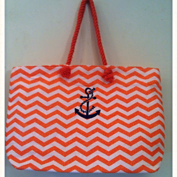 Monogram Nautical Anchor Jute Totes or Anchor with Rope Embroidered Jute Totes