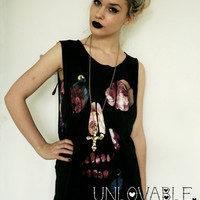 Skull cut out tshirt vest by UnlovableLingerie