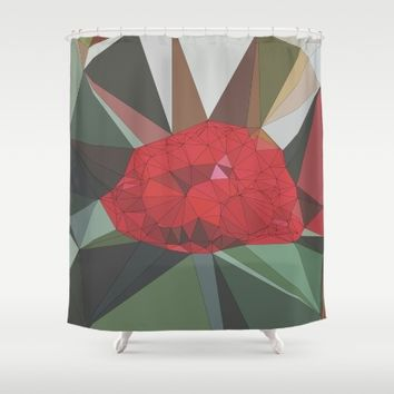 Ruby Red Rose Shower Curtain by Ducky B
