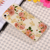 Flower Collage Floral Pattern Rubber TPU Soft Mobile Phone Protective Case Cover For Apple iPhone 5/5S
