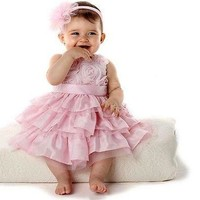 Baby Girls Roses Party Pageant Dress with Headband