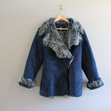 Faux Suede Leather Coat Navy Blue Soft Faux Fur Shearling Lining Hippie Boho Suede Jacket Vintage 90s Size  S - M #O117A