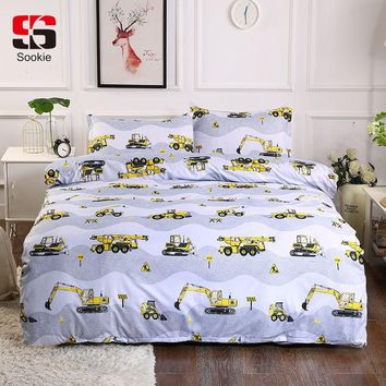 Cool Sookie Road Excavator Bedding Set Tools Print Duvet Cover and Pillowcases Twin Full Queen King Size Bed Linen 3pcs BedclothesAT_93_12