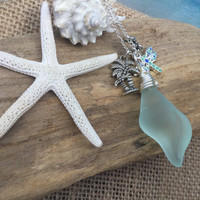 Sea Glass Shell Necklace ~ dragonfly charm jewelry ~ Palm tree beach glass jewelry ~ cultured Seaglass jewelry ~ glass shell ~ ladies gift