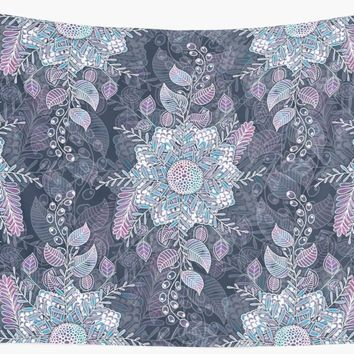 'Navy and Lilac Floral Doodle' Wall Tapestry by Gingerlique