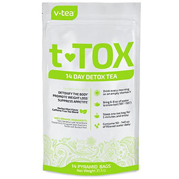 14 Day Detox Tea Teatox by V Tea - Cleanse, Boost Energy, Promote Weight Loss, Reduce Constipation & Eliminate Bloating