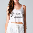 KILLIN' IT ALL THE TIME CROP TOP - WHITE