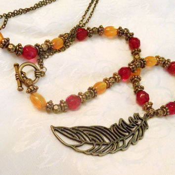 FSU Florida State Seminole long feather necklace - Antiqued Bronze large feather charm with garnet and gold acrylic bead and bronze chain
