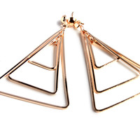 """What's Within"" Gold Triangle Drop Earrings"