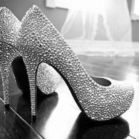 Sliver Crystal wedding shoes bridal shoes sparkly prom shoes women high heels prom shoes party shoes Bling wedding shoes bridal heels